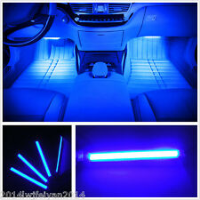 4in1 Blue Super Bright Car Interior Footwell Decor Atmosphere LED Neon Light Bar