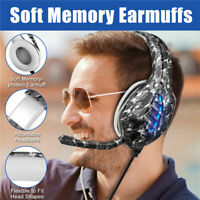 3.5mm Gaming USB PC Computer Headset Mic Surround Sound RGB Headphone For PS4 AU