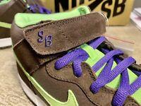 "Nike MEN'S DUNK MID PRO SB ""DONATELLO"" Brown Radiant Green SIZE 11 BRAND NEW"