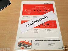 Renault Modell R 16 TL, TS, TX - Terotex Hohlraumversiegelungsplan