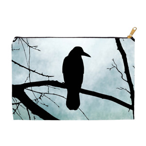 Cosmetic bag Makeup bag Pouch Accessory Bird 77 Crow Raven moon art by L.Dumas