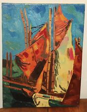 Abstract Expressionist Painting of Sailboat Anchor Red White Impasto 9 X 12