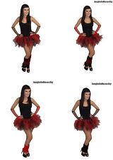 NEON TUTU SKIRT RED BLACK 4 LAYER LEGWARMERS GLOVES 80S FANCY DRESS HEN PARTY
