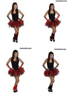 NEON TUTU SKIRT RED BLACK 4 LAYER LEGWARMERS GLOVES 80'S FANCY DRESS HEN PARTY