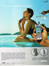 PUBLICITE ADVERTISING 075  2001  SONY téléphonie mobile GO CREATE  CMD-J5