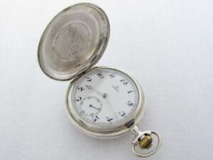 Omega Antique 1895-1902 Swiss Amazing Art Deco Silver Full Hunter Pocket Watch
