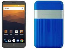 Boost Mobile ZTE Max XL with Powerocks Cirrus Power Bank Blue