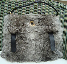 AUTH YSL MEDIUM MUSE 2 in GREY FOX FUR & BLK LEATHER BAG SAC w/t shoulder strap