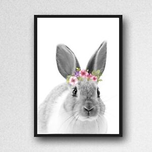 rabbit bunny print PICTURE   WALL ART A4  unframed animal floral crown