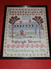 Vintage Handmade Sampler 14.75 X 11.5 Inches Raleigh Tavern Williamsburg Va