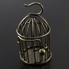2pcs Antique Bronze Vintage Alloy 3D Bird Cage Door Open Pendant Charms 02885