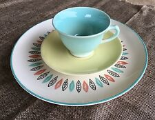 Retro Vintage 1960's Ethnic Cottage Chic Mismatched Place Setting Dishes Plates