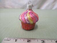 OLD WORLD CHRISTMAS GLASS CUPCAKE CAKE TREE ORNAMENT OWC Pink Purple Yellow