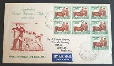 1953 Australia Stamp Fdc - Australian Young Farmers Club - 3/9/53 Airmail