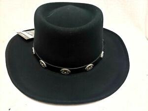 Mens BLACK Gambler Old West Cowboy Walking Dead style Wool Felt Hat M to XL