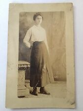 Antique B&W Cabinet Card Portrait Photograph - Plan Jane Woman Photo Postcard