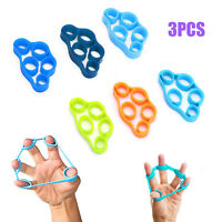 3pcs Finger Hand Exerciser Crimp Training Resistance Band Stretch Strength Grip