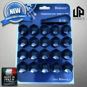 (20) NEW 19MM HEX BLACK CAP COVERS FASTENERS LUG BOLT NUT DODGE WHEELS ITALY
