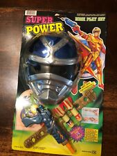 VINTAGE Chap Mei Blue Super power ranger Type KO mask Playset Rack Toy RARE R2