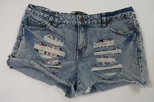 cd290bcfd1 Forever 21 Ripped Distressed Denim Shorts Women s Plus Size 12