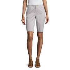 "Liz Claiborne Women's Bermuda Shorts 10.5"" Silver Screen Size 14 Petite NEW"
