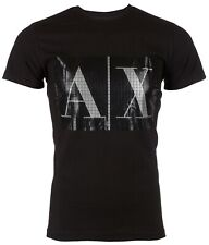 Armani Exchange BOX LOGO Mens Designer T-SHIRT Premium BLACK Slim Fit $45 NWT