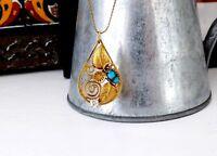 Navajo Sterling Silver 925 12K GF Turquoise CZ Southwestern Pendant Necklace