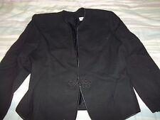 very nice size 14 black 100% wool blazier very nice detailed silk trim flower sh