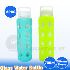 2 x 700ml Glass Water Bottle Sport Outdoor Hydration kettle Camping cup BPA Free