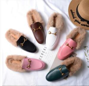 Womens Flat Heel Fluffy Rabbit Fur Lined Shoes Casual Slippers Mules Horsebit