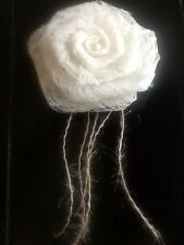 Ivory Lace Burlap Spray Rose Flowers Rustic Wedding Pearl Option Table Decor