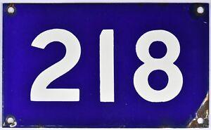 Old Australian used house number 218 door gate enamel metal sign in French blue