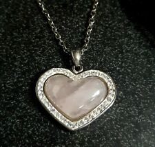 Galilea Rose QUARTZ , Austrian Crystal HEART Pendant NECKLACE in Stainless Steel