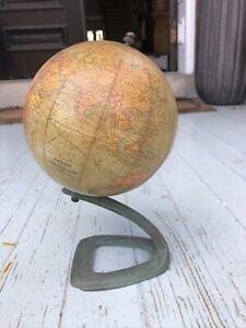 VINTAGE ANTIQUE 1930'S C.S. HAMMOND'S 6 INCH TERRESTRIAL GLOBE IRON STAND ***