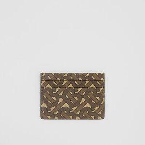 Genuine Burberry Monogram Print E-canvas Leather Card Case Bridle Brown