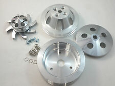 BBC Big Block Chevy 2 / 3 Groove Aluminum Short Pump Pulley Kit 396 427 454 V8