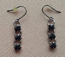 Black stone dangling chain link hook earrings