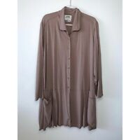 FLAX Button Front Tunic L/S Shirt Lagenlook Artsy Top Rayon Taupe size Large