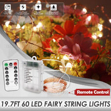 X'mas String Fairy Lights with Remote & Timer / 8 Modes 6M Waterproof 60LED