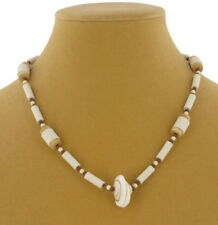 1970s Vintage Ceramic White Wood Bead Genuine Shell Beach Collar Necklace 16""