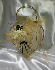 Gold Bridesmaid Flowers Girl Bag Wedding Bouquet Posy Thistles Organza