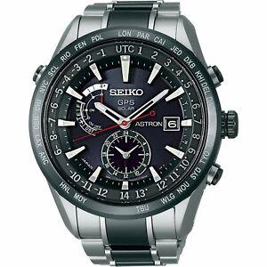 Seiko Men's SAST015 'Astron GPS Solar' World Time Stainless steel Ceramic Watch