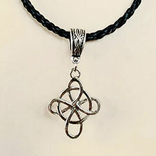 Collier Celtique Gothique Elfique pendentif noeuds celtiques sur cordon tressé