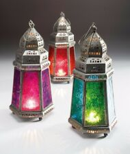 Lantern pyramid Moroccan style tea light holder red purple or blue 30cm-NEW