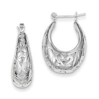 925 Sterling Silver Oval Filigree Hinged Post Hoop Earrings