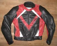"""""""PROBIKER"""" Herren- Motorrad - Lederjacke / Biker- Jacke in schwarz - rot Gr. 50"""