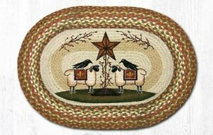 Sheep and Barn Star 20 x 30 Oval Rug by Earth Rugs