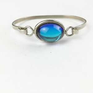 VINTAGE BRIGHT SAPPHIRE BLUE GLASS MYSTICAL LADIES BRACELET BANGLE