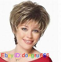 Cosplay Pale Blonde & Darkest Brown Mixed short Wig + Free wig cap  A120