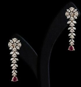6Ct Pear Cut Ruby Simulant Diamond Chandelier Earrings Yellow Gold Finish Silver